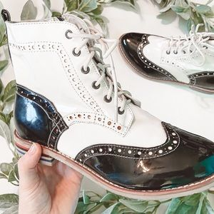 Wanted Kiley Oxford Black and White Eyelet Boots